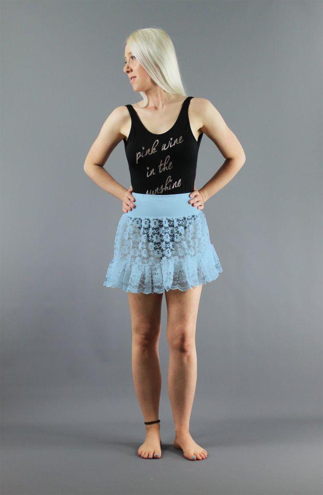 Baby-Blue-Mini-Lace-Skirt