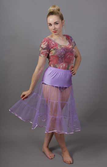 D92 Lilac Tiered Net Underskirt Edged With Satin