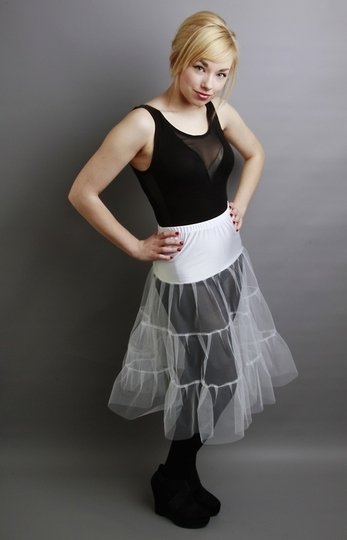 C2 White Tiered Net Underskirt