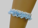 White & Blue Wedding Garter With Lucky Horse Shoe