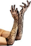 Long Black Lace Spiderweb Gloves