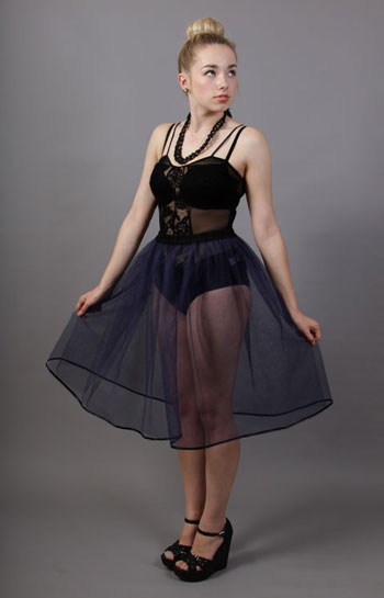A51 Navy Blue Net Underskirt Edged With Satin