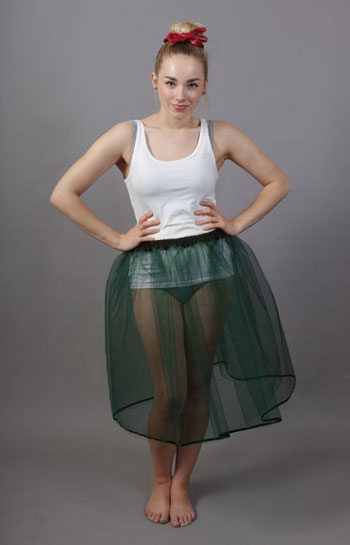 A72 Bottle Green Net Underskirt Edged With Satin
