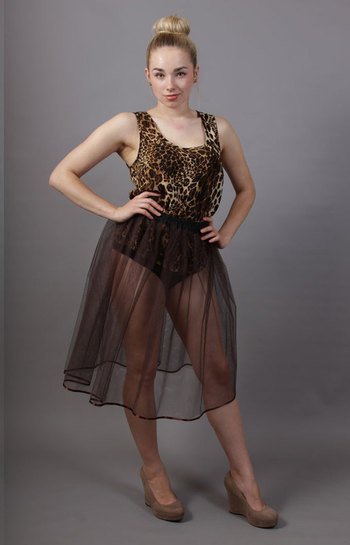 Coffee Brown Net Underskirt Edged With Satin