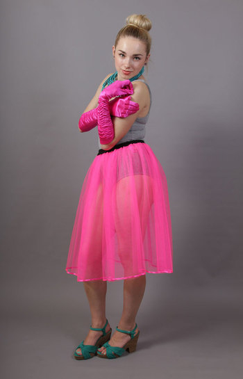 Flo Neon Pink Net Underskirt Edged With Satin