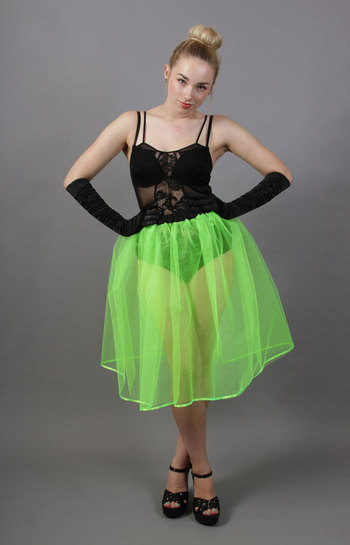 A99 Flo Neon Green Net Underskirt Edged With Satin