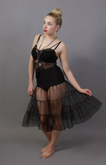 C1 Black Tiered Net Underskirt