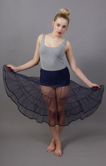 D51 Navy Blue Tiered Net Underskirt Edged With Satin