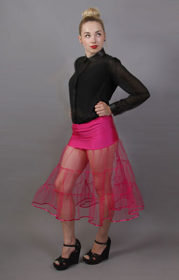 D6 Cerise Tiered Net Underskirt Edged With Satin