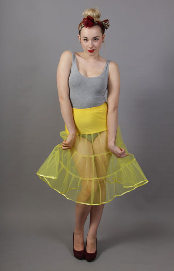 D7 Primrose Yellow Net Underskirt Edged With Satin