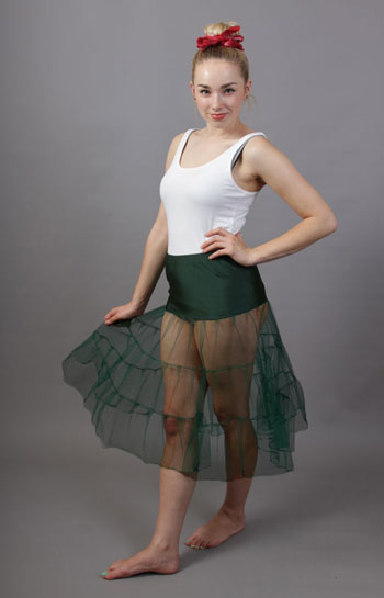 C72 Bottle Green Tiered Net Underskirt