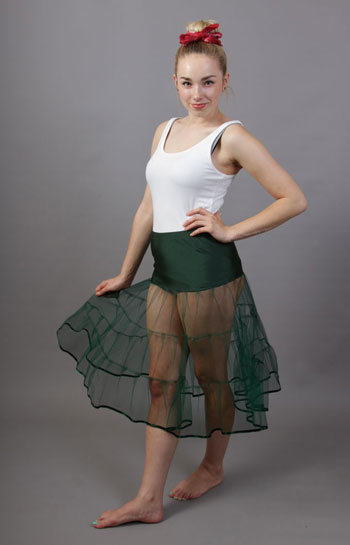 D72 Bottle Green Tiered Net Underskirt Edged With Satin