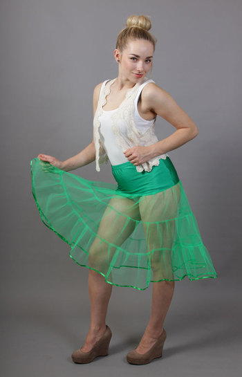 D93 Jade Green Tiered Net Underskirt Edged With Satin