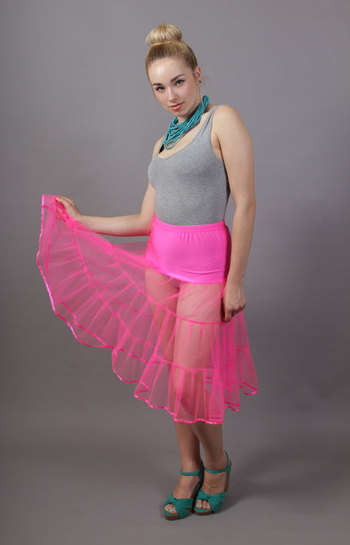 D97 Flo Neon Pink Net Underskirt Satin Trim