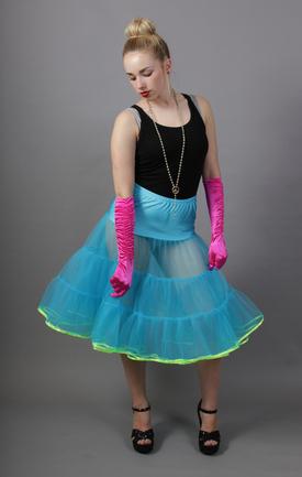 Turquoise Net Petticoat Flo Neon Yellow Satin Trim