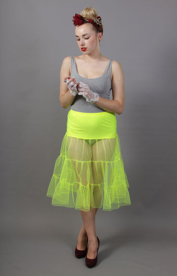 C98 Flo Neon Yellow Tiered Net Underskirt