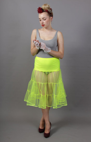 D98 Flo Neon Yellow Tiered Net Underskirt Edged With Satin