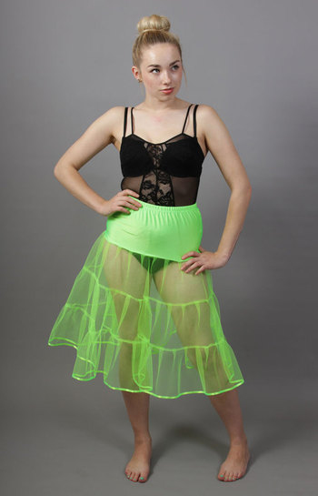 D99 Flo Neon Green Tiered Net Underskirt Edged With Satin