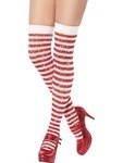 Red & White Striped Stockings With Sparkle
