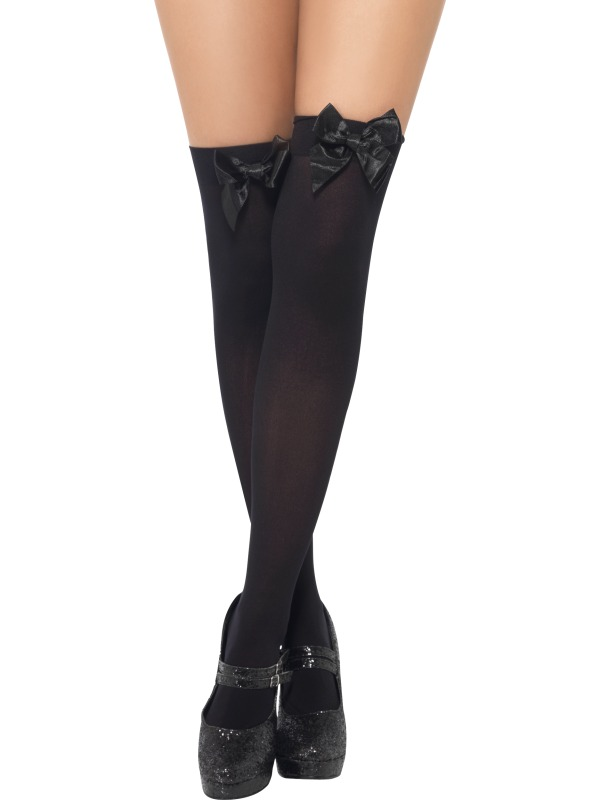 Black Thigh High Stockings With Bow