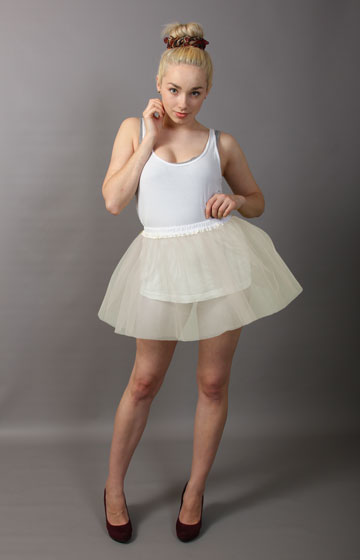 Short Ivory Net Skirt