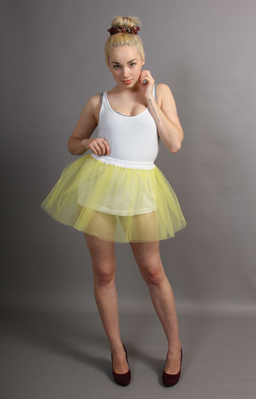 E7 Short Primrose Yellow Net Skirt