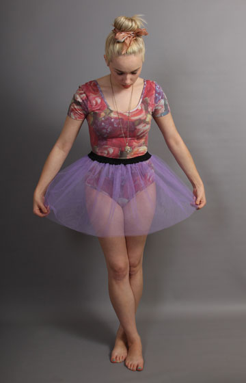 Short Lilac Net Skirt