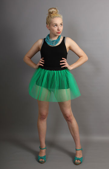 E93 Short Jade Green Net Skirt
