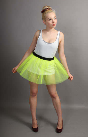 E98 Short Flo Neon Yellow Net Skirt