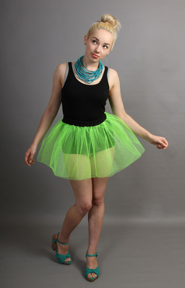 E99 Short Flo Neon Green Net Skirt