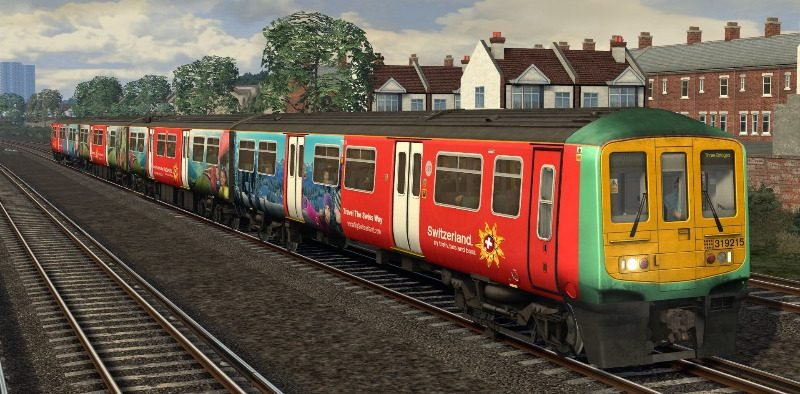 Image showing screenshot of a free repaint of the Class 319 EMU that is included with the Midland Main Line London-Bedford Route Add-On DLC