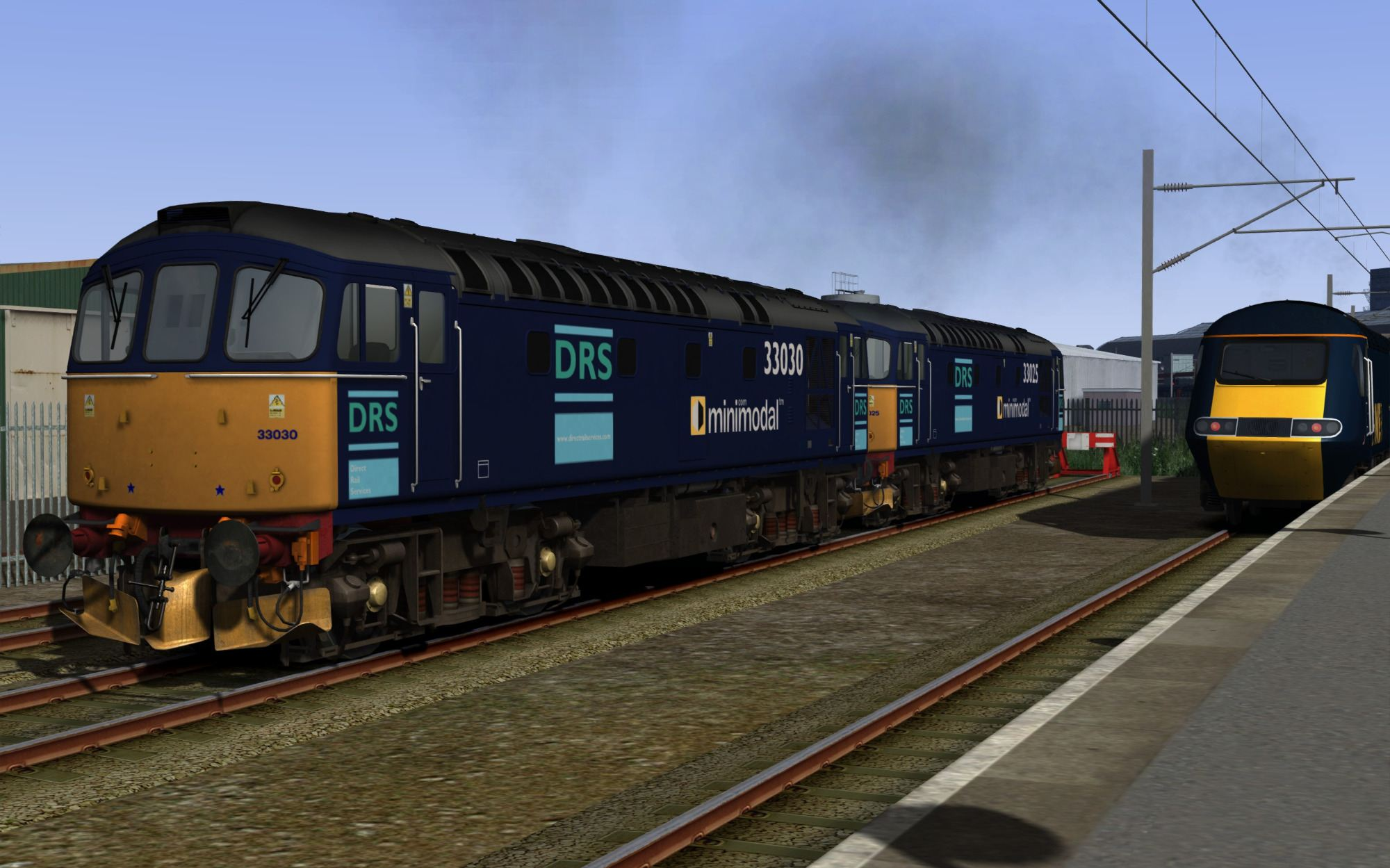 Image showing screenshot of the free DRS Minimodal repaint of the Class 33 locomotive included with the BR Blue Diesel Electric Pack Loco Add-On DLC