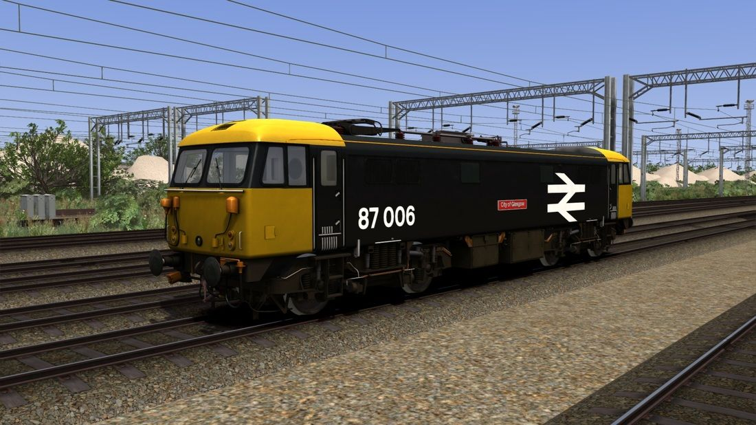 Image showing one of the free Class 87 locomotive repaints available from Vulcan Productions