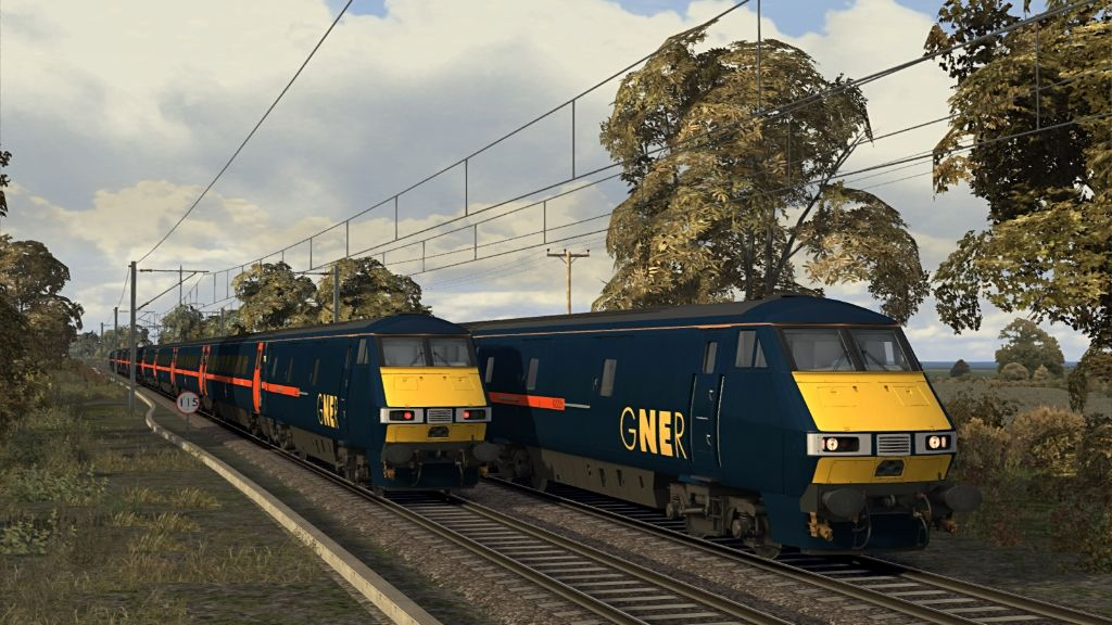 Image showing screenshot of Class 91 locomotives featured in the Armstrong Powerhouse Class 91/Mk4 Enhancement Pack