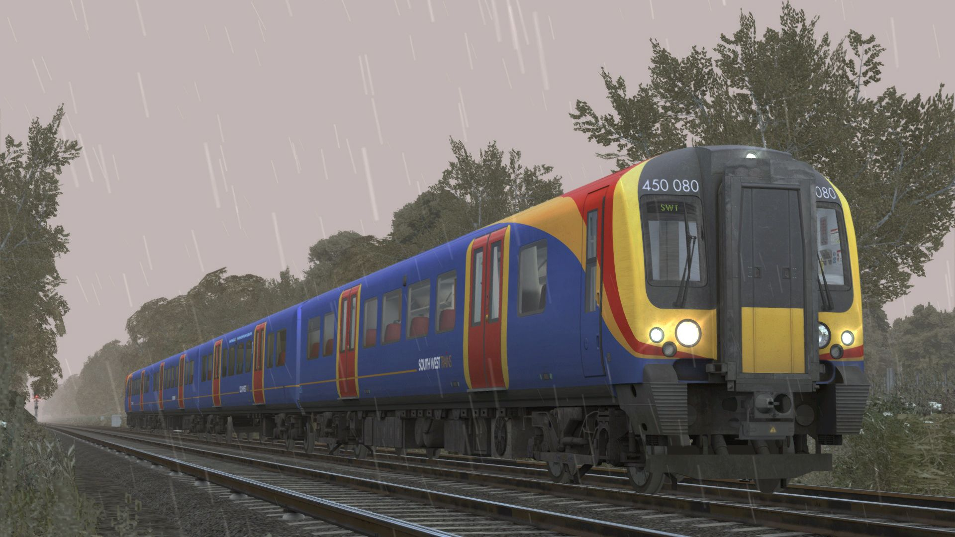 Image showing a screenshot from the Portsmouth Direct Line: London Waterloo to Portsmouth DLC for Train Simulator