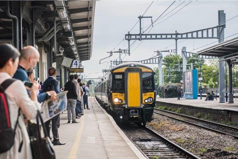 Class 387 EMU pulling into station