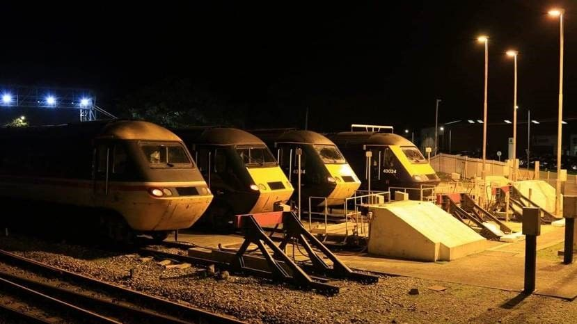 HST powercars line up at Long Rock Depot
