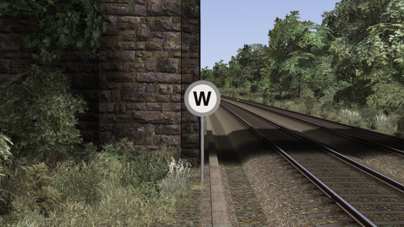 Image depicting a standard lineside whistle sign.