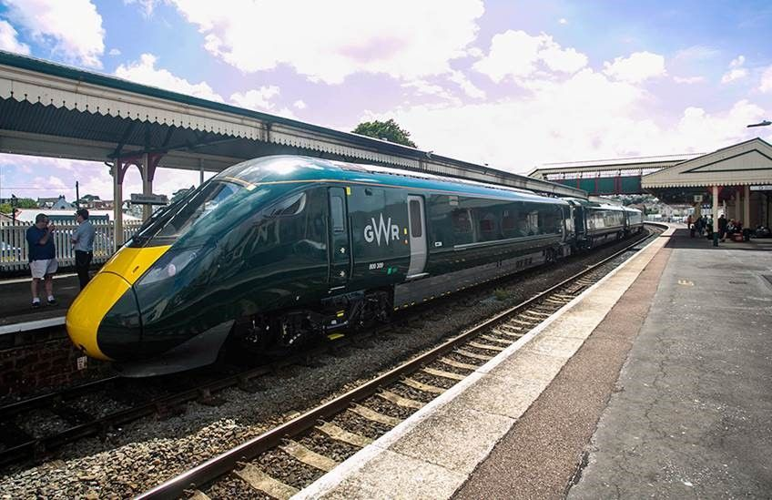 A GWR Intercity Express Train stands at a station