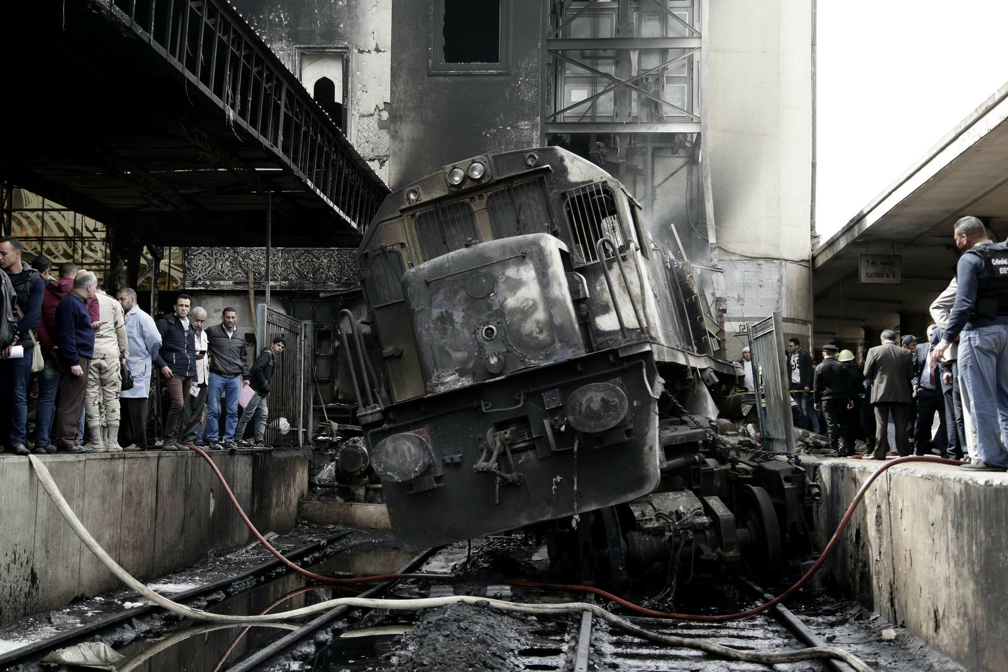 Image showing burnt out locomotive at Ramses station