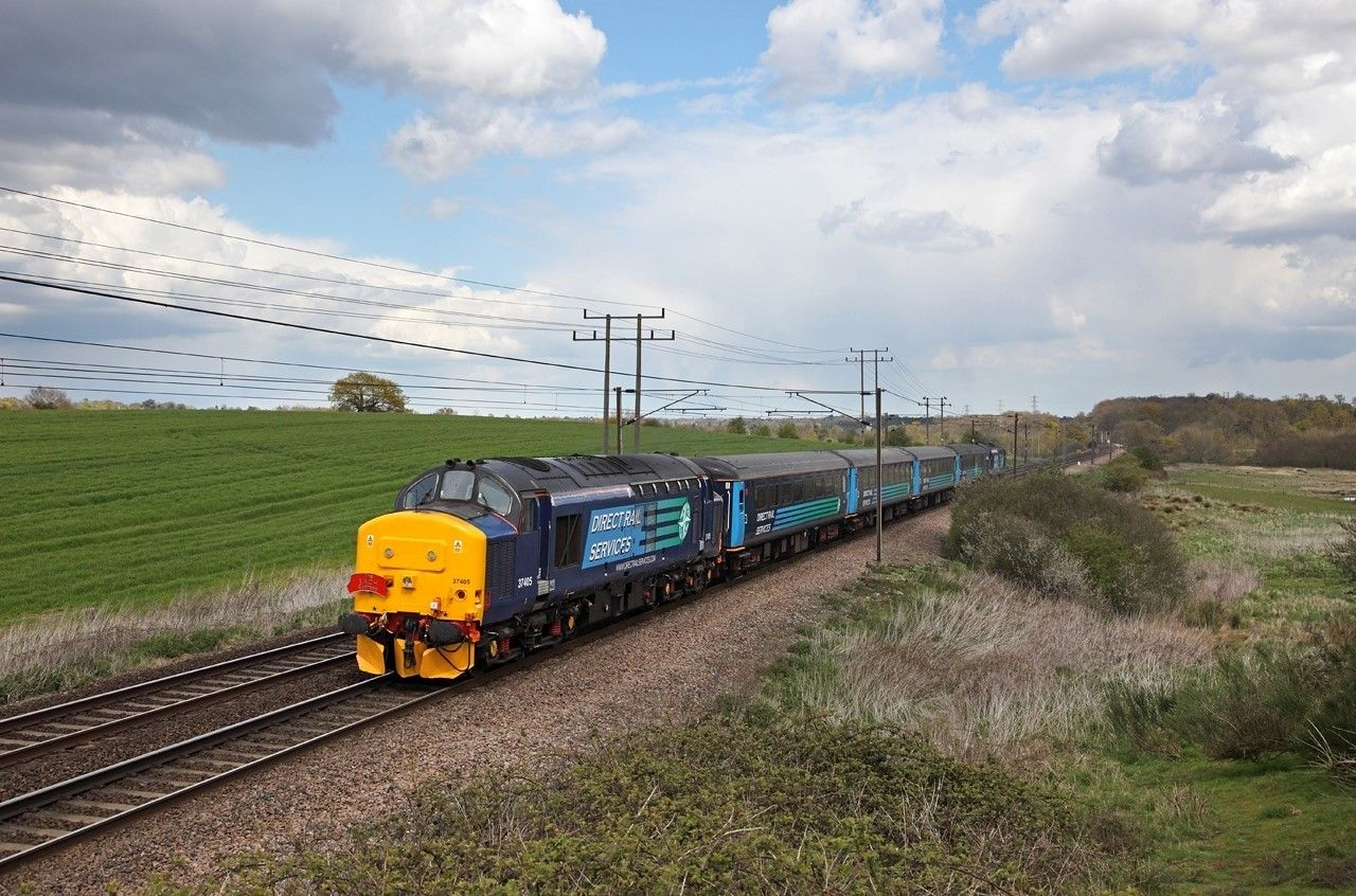 Image showing Class 37 locomotive hauling train