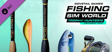 Clickable image taking you to the Steam store page for the Trophy Hunter's Equipment Pack DLC for Fishing Sim World