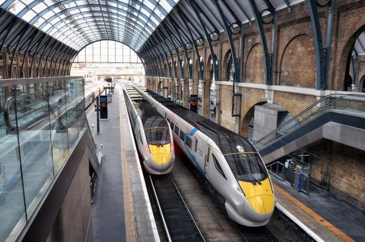 Images showing artists impression of FirstGroup train at station