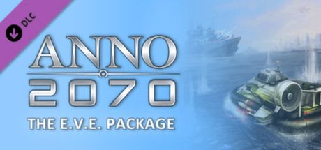 "Clickable image taking you to the Steam store page for the E.V.E. Package DLC for Anno 2070â""¢"