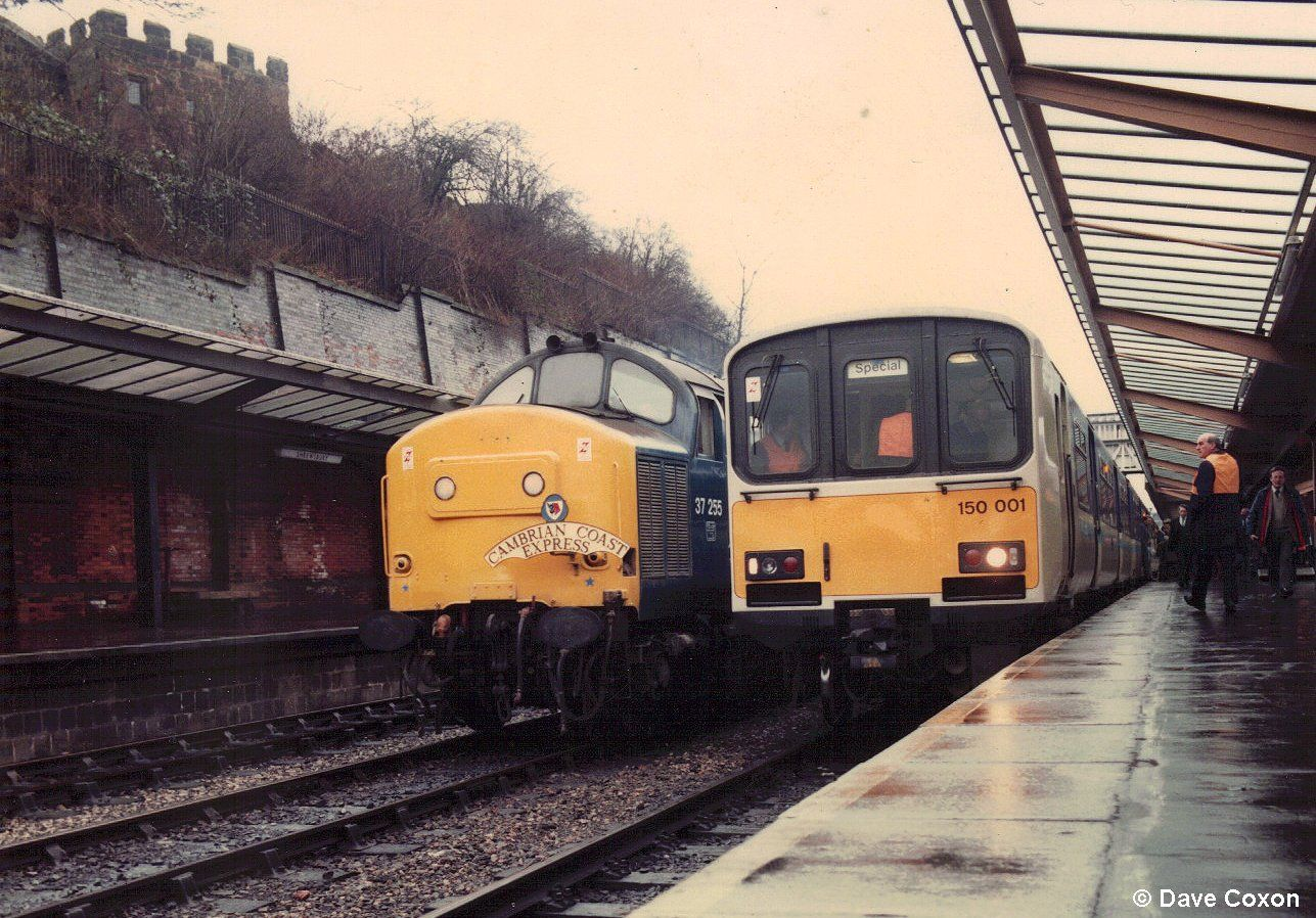 Image showing 150001 visiting Shrewsbury en route to Aberystwyth during a promotional trip on 21st January 1985