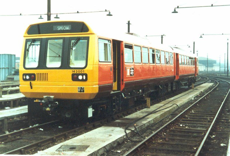 Image showing the pioneer of the class at Etches Park depot Derby whilst on test wears the Manchester PTE livery in 1985