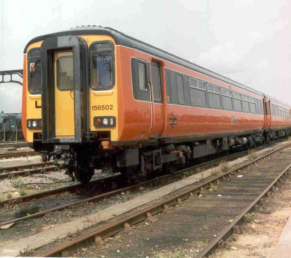 Image showing Strathclyde-liveried unit 156502 in the yard at the RTC, Derby prior to departure for Utrecht in July 1989
