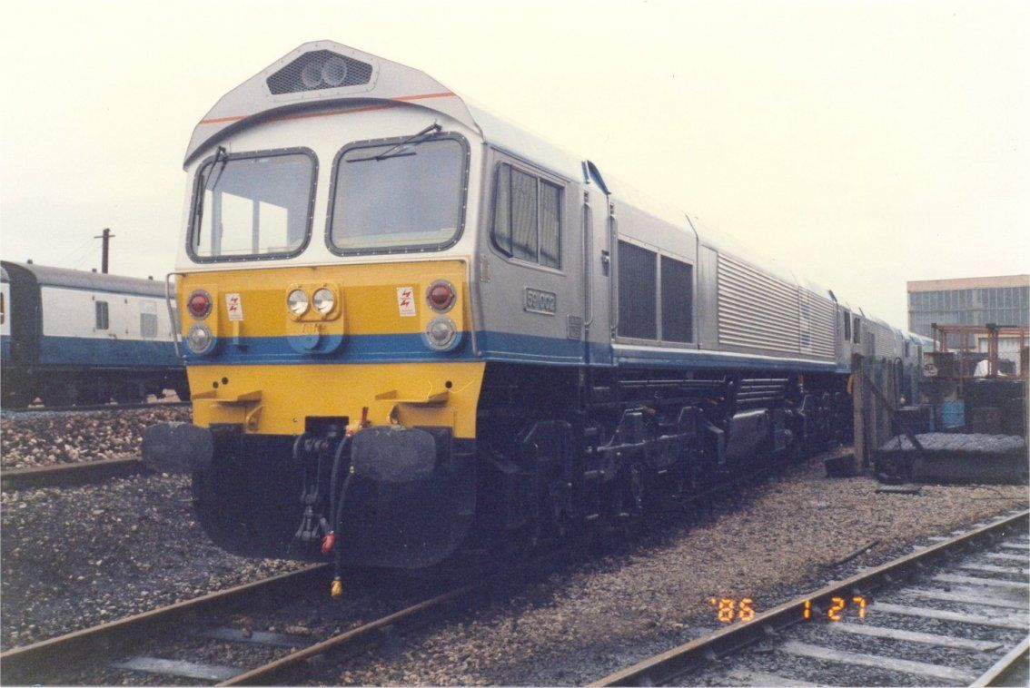 Image showing brand new EMD class 59 locomotive 59002 sitting in the sidings at RTC