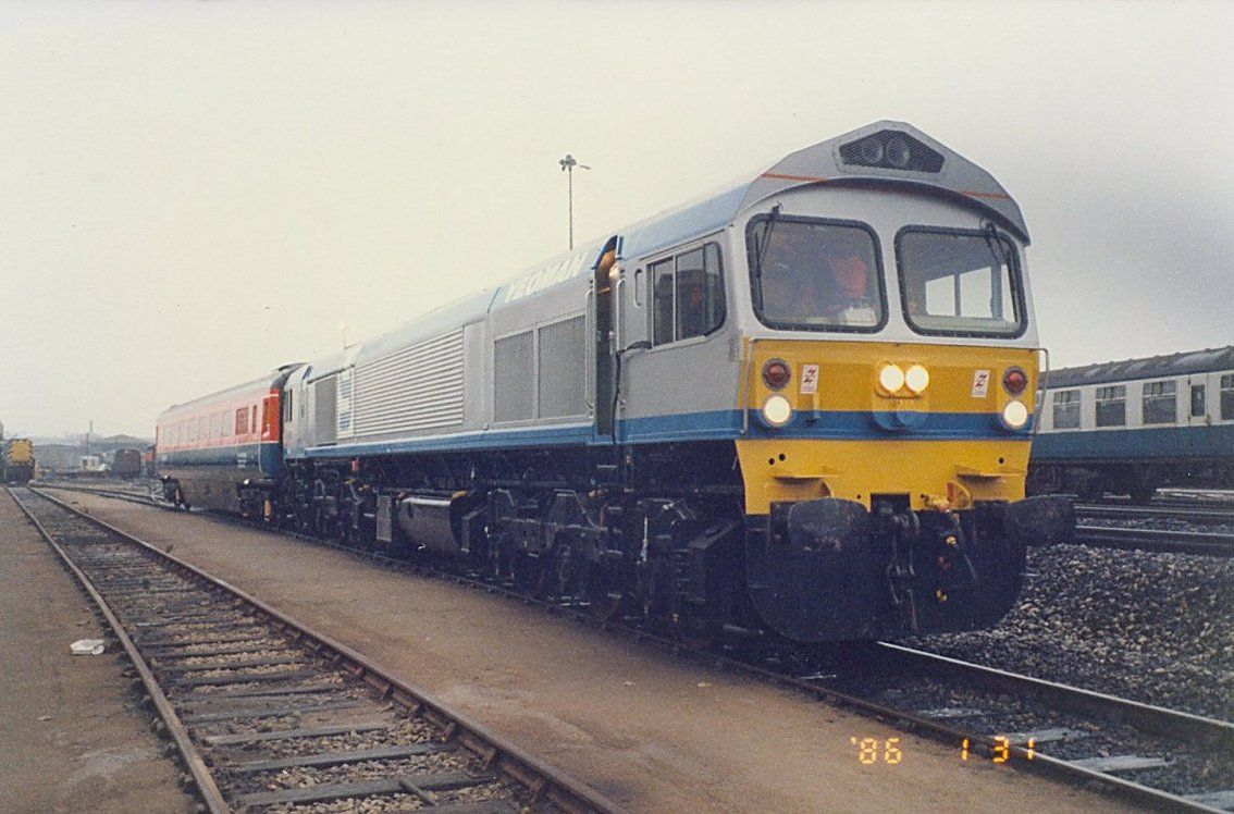 Image showing 59003 coupled to Test Car 10 ready for a run to Cricklewood