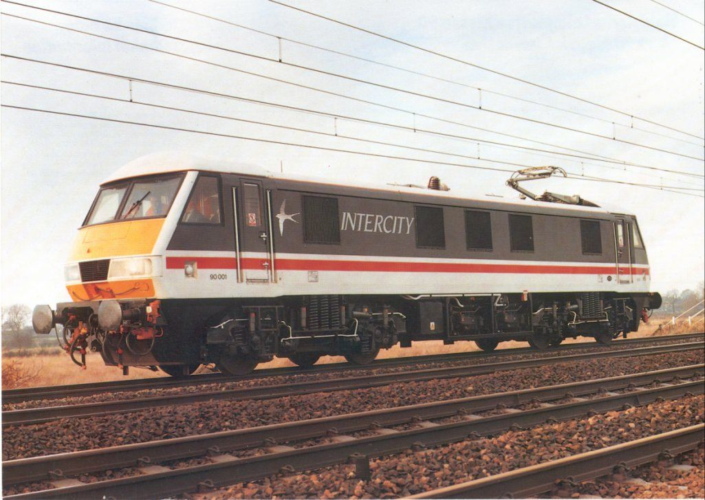Image showing publicity shot of 90001 at Winsford, north of Crewe on the WCML, in early 1988